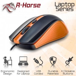 R-HORSE Optical Mouse USB Wired Orange/Black